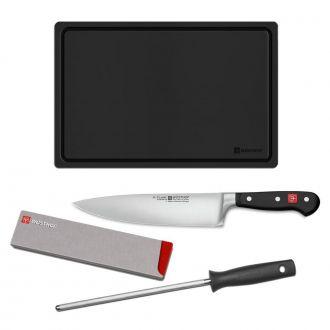 Kit Starter 4 Peças (Chef/Chaira/Protetor/Tábua) Classic 9755-9 - Wüsthof